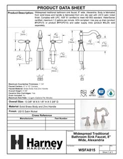 Product Data Specification Sheet Of A Wide Spread Transitional Bathroom Sink Faucet, 8 In. Wide, Alexandria - Satin Nickel Finish - Product Number WSFA815