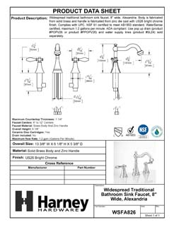 Product Data Specification Sheet Of A Wide Spread Transitional Bathroom Sink Faucet, 8 In. Wide, Alexandria - Chrome Finish - Product Number WSFA826
