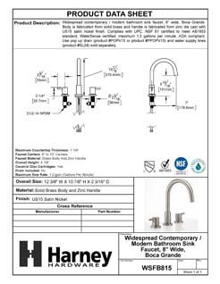 Product Data Specification Sheet Of A Wide Spread Contemporary / Modern Bathroom Sink Faucet, 8 In. Wide, Boca Grande - Satin Nickel Finish - Product Number WSFB815