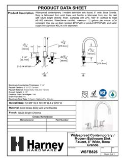 Product Data Specification Sheet Of A Wide Spread Contemporary / Modern Bathroom Sink Faucet, 8 In. Wide, Boca Grande - Chrome Finish - Product Number WSFB826