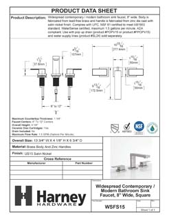 Product Data Specification Sheet Of A Wide Spread Contemporary / Modern Bathroom Sink Faucet, 8 In. Wide - Satin Nickel Finish - Product Number WSFS15