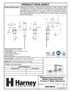 Product Data Specification Sheet Of A Wide Spread Contemporary / Modern Bathroom Sink Faucet, 8 In. Wide, Westshore - Satin Nickel Finish - Product Number WSFW815