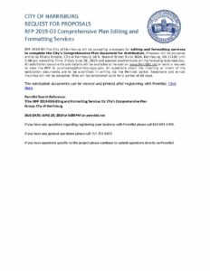 RFP 2019-03 Editing and Formatting Services Public Notice | City of