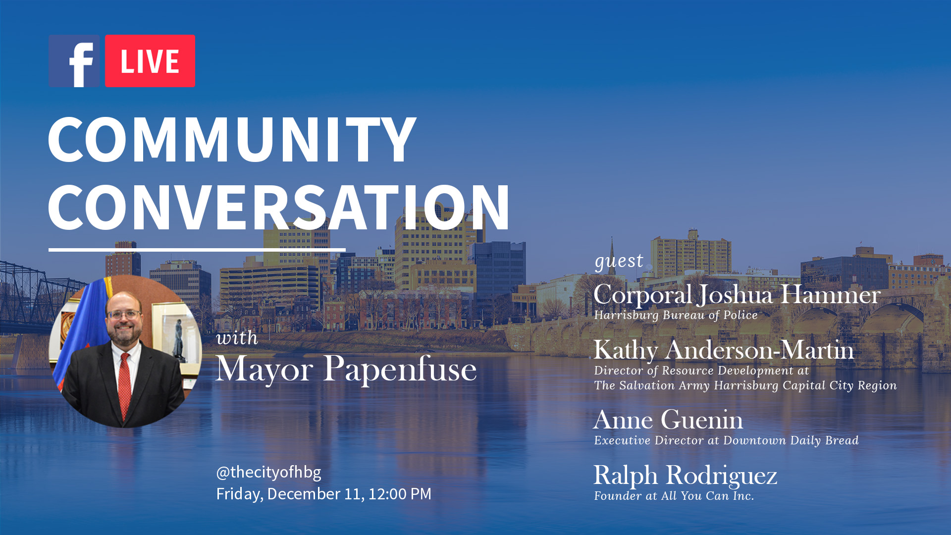 Mayor Papenfuse to Lead Live Discussion on Community Services this Holiday Season