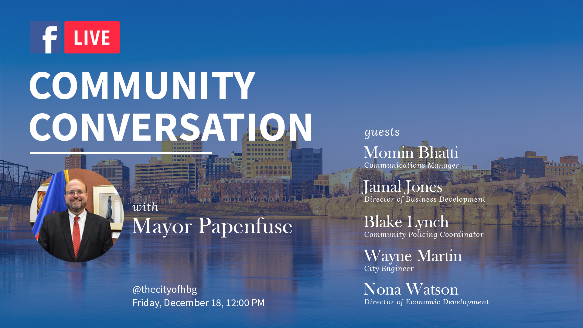 Mayor Papenfuse to Lead Live Discussion on 2020 City Achievements