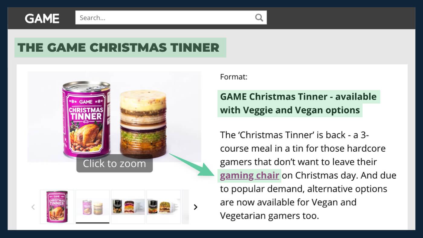 Game's Christmas Tinner press