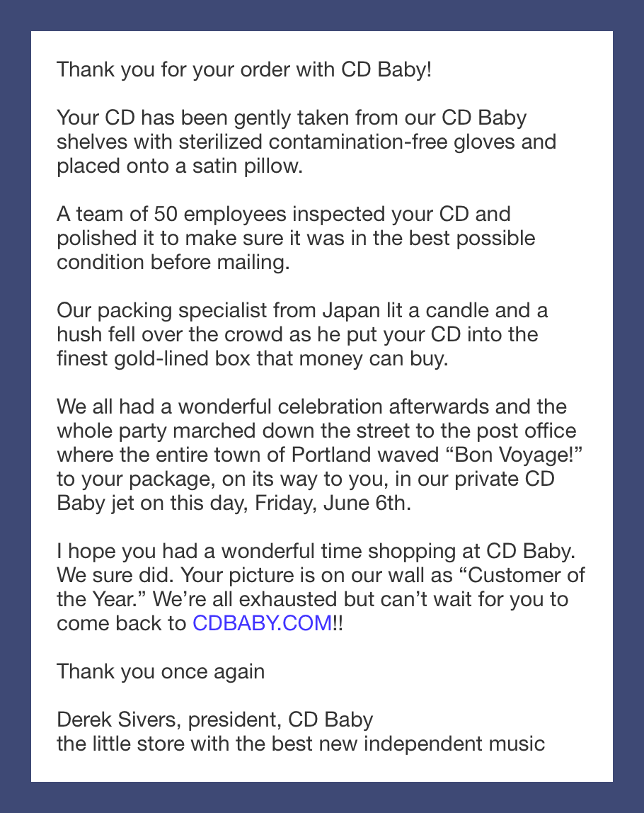 CD Baby Confirmation Email