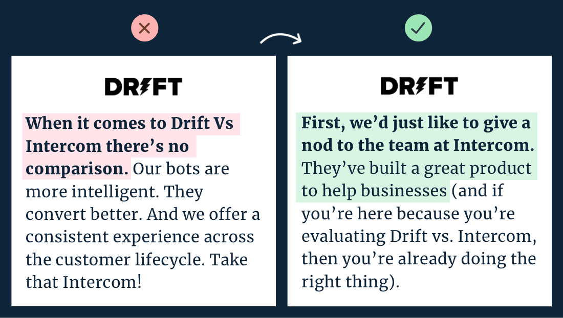 Drift v Intercom copywriting