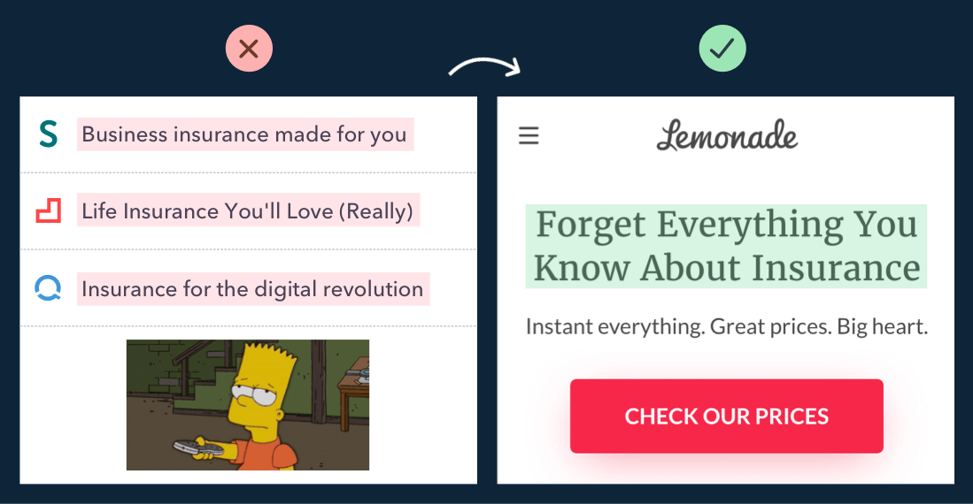 Lemonade landing page copywriting