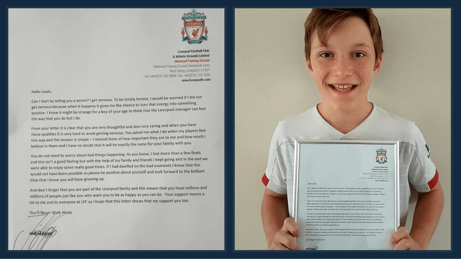 Jürgen Klopp letter to schoolboy with anxiety