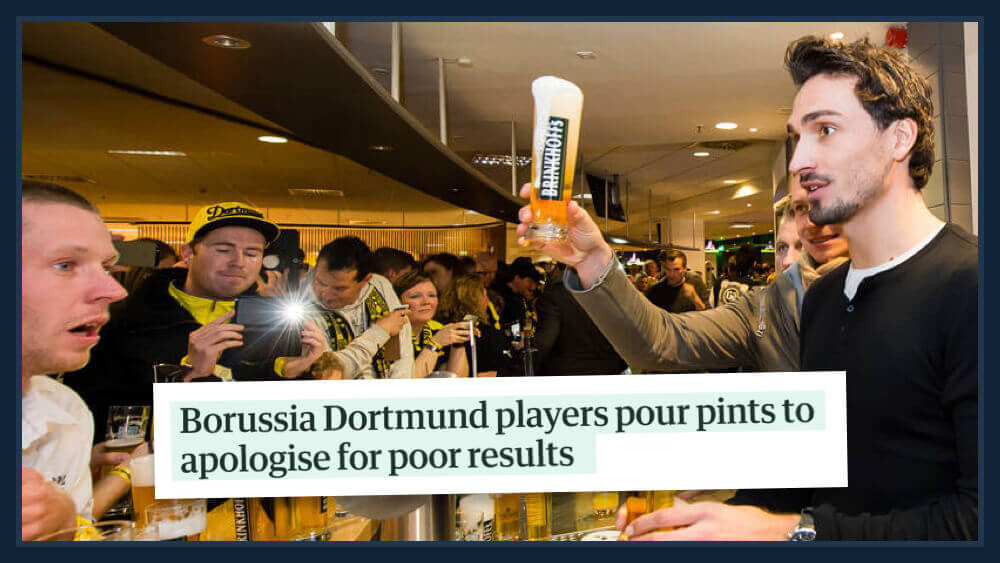 Jürgen Klopp Dortmund Christmas party pints for fans