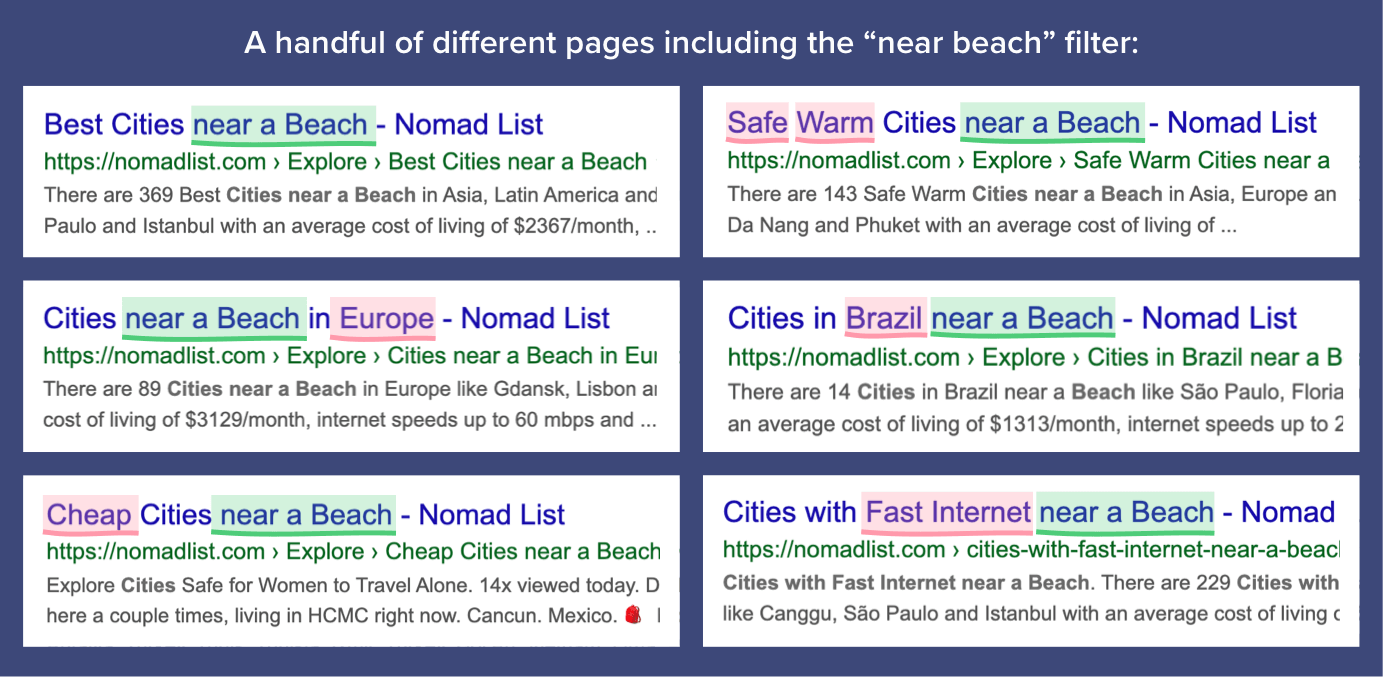 Nomad List filter combinations in Google