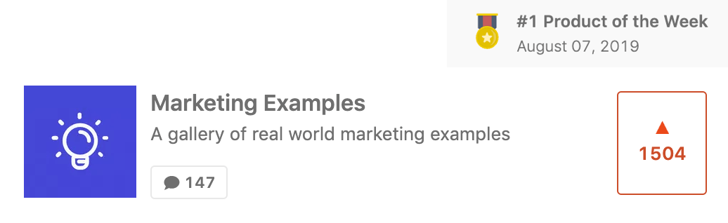 Marketing Examples Product Hunt