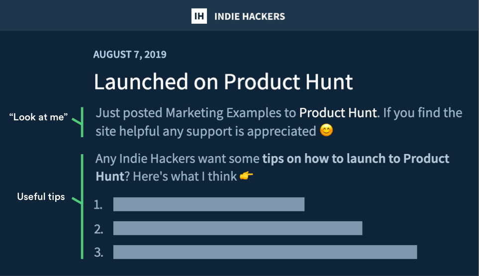 Marketing Examples Indie Hackers Milestone