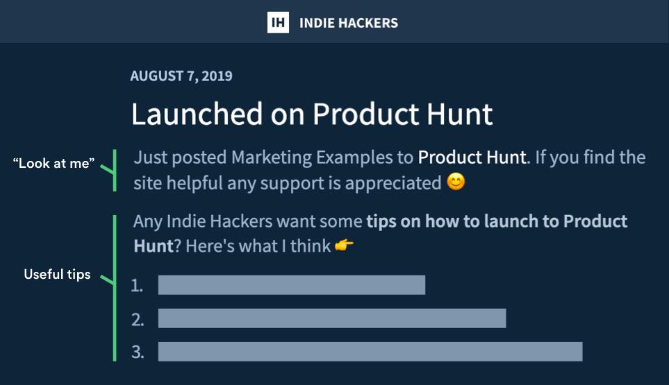 Marketing Examples Indie Hackers Milestone