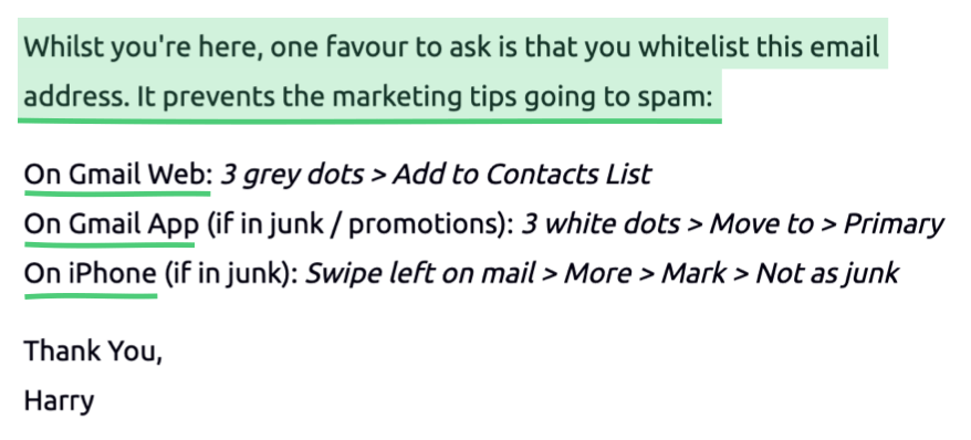 Marketing Examples welcome email