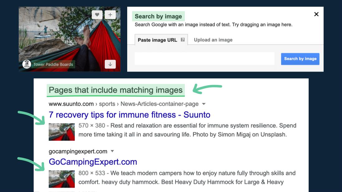 Find Unsplash images with Google Images