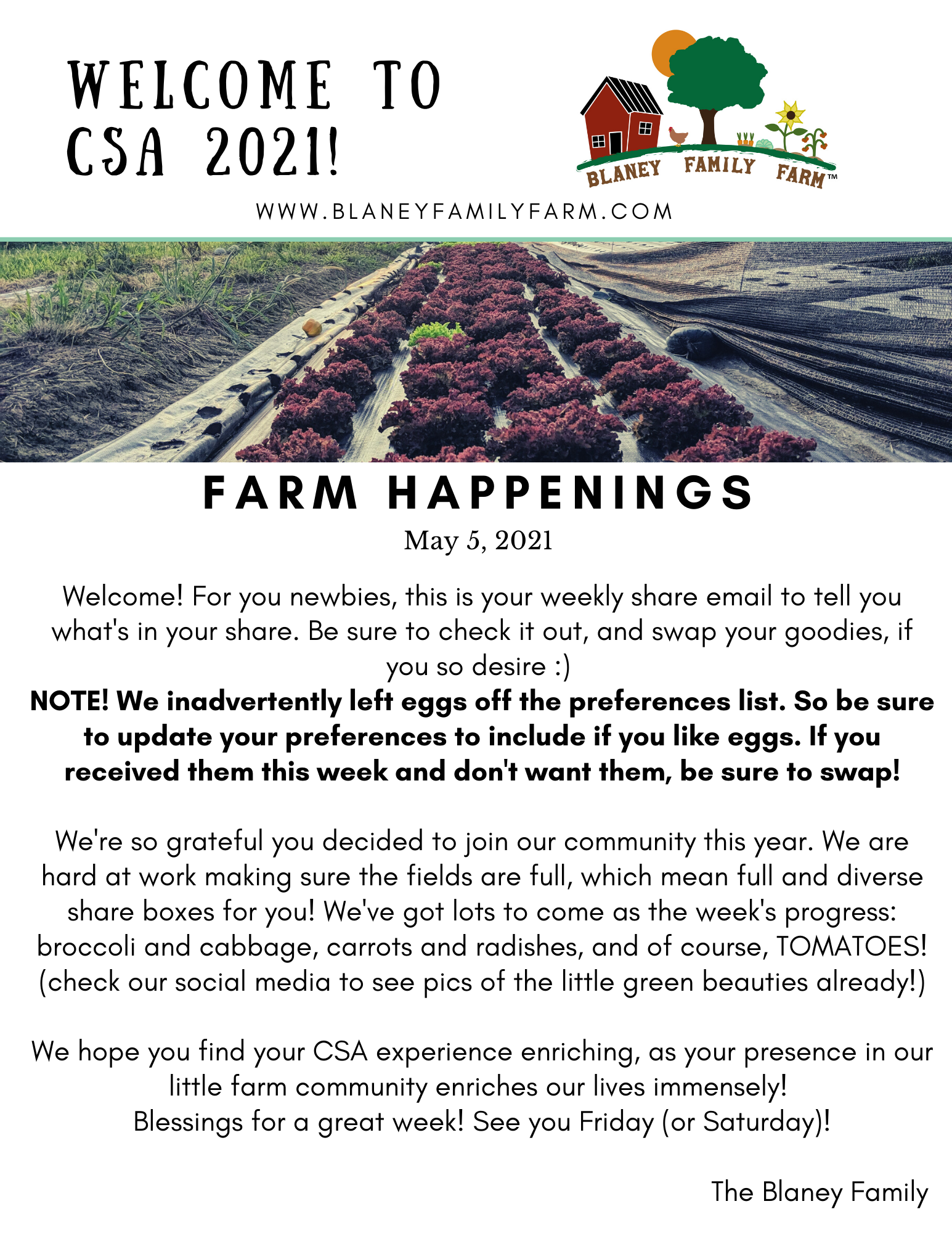 Welcome to CSA and Farm Happenings!