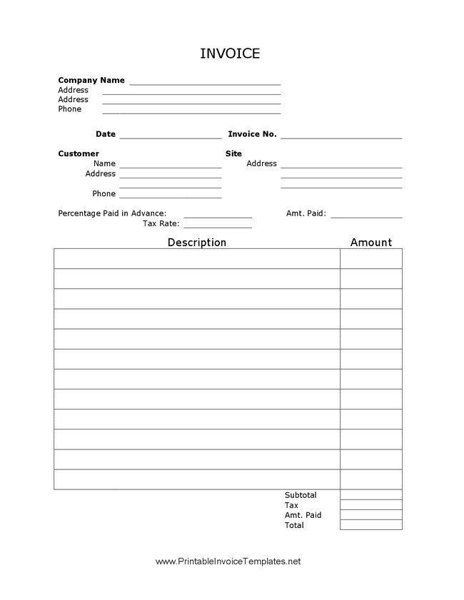 payment invoice example