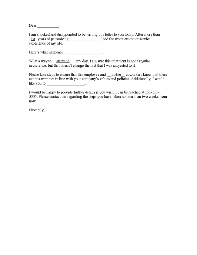 Employee Complaint Letter to Employer