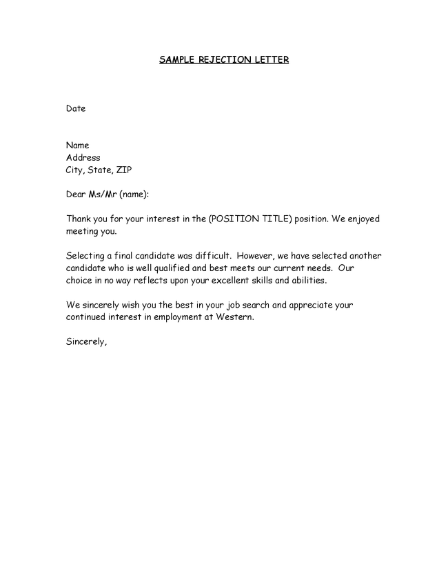 Sample Letter Job Rejection | Sample Business Letter
