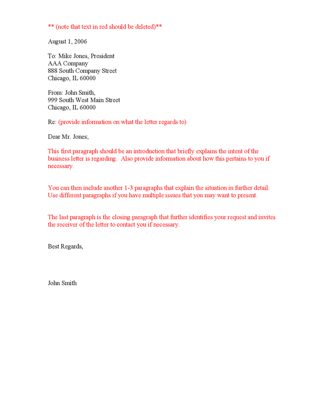 format for business letter