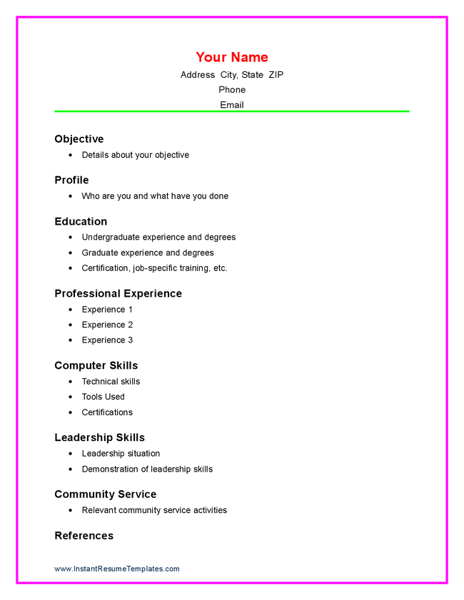 ... resume sample. simple resume examples for jobs. resume template zip