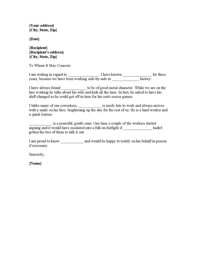 Character Reference Letter Template For Court Drink Driving