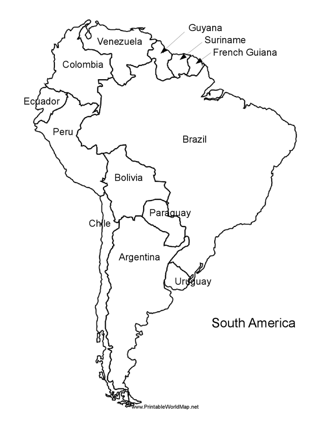 Free coloring pages of south central america map for What color is south america