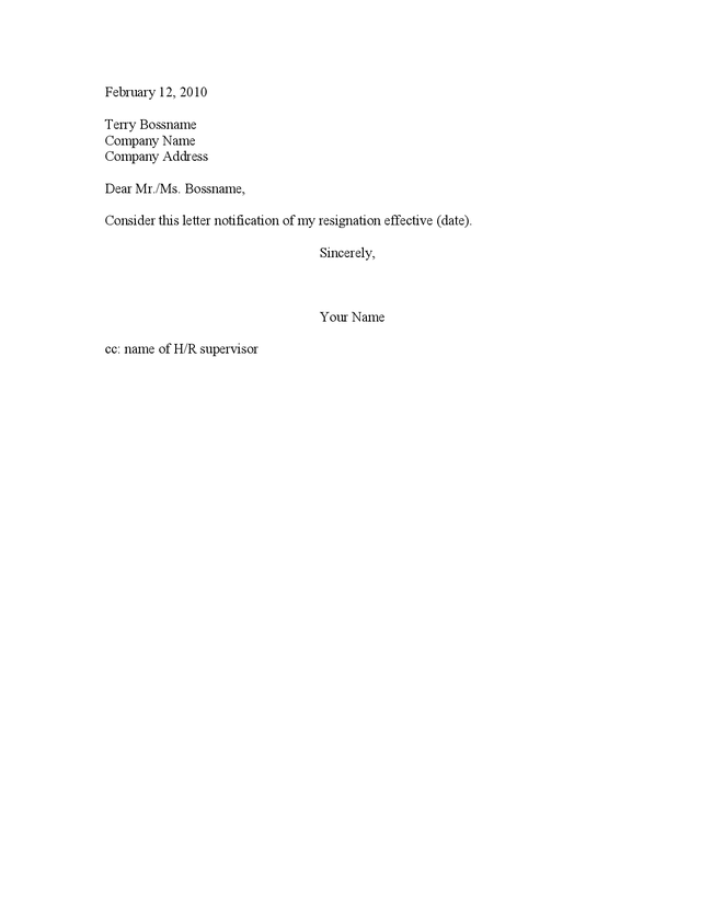 Short Resignation Letter | New Calendar Template Site