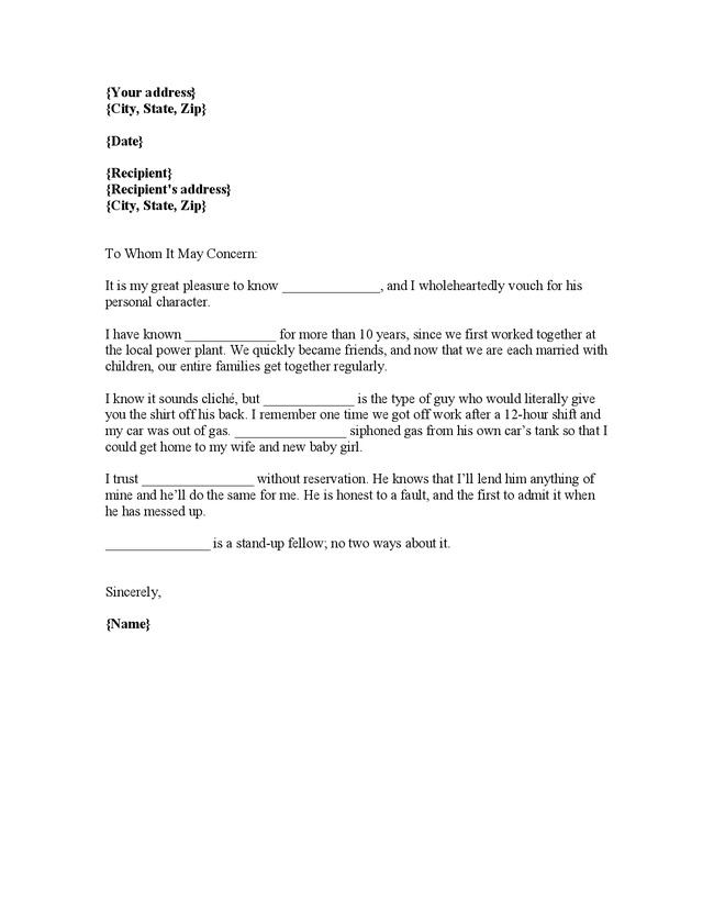 Letter, Character Reference Letter From Employer, of Immigration ...