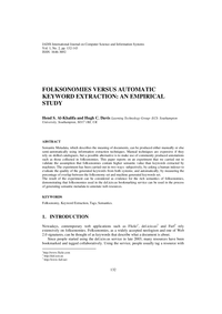 Folksonomies Versus Automatic Keyword Extraction: An Empirical Study