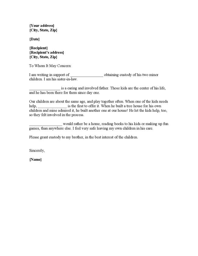 Reference Letter Sample For Child Custody character reference letter ...