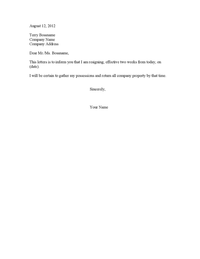 Basic Two Weeks Notice Letter | Resume Sample Template