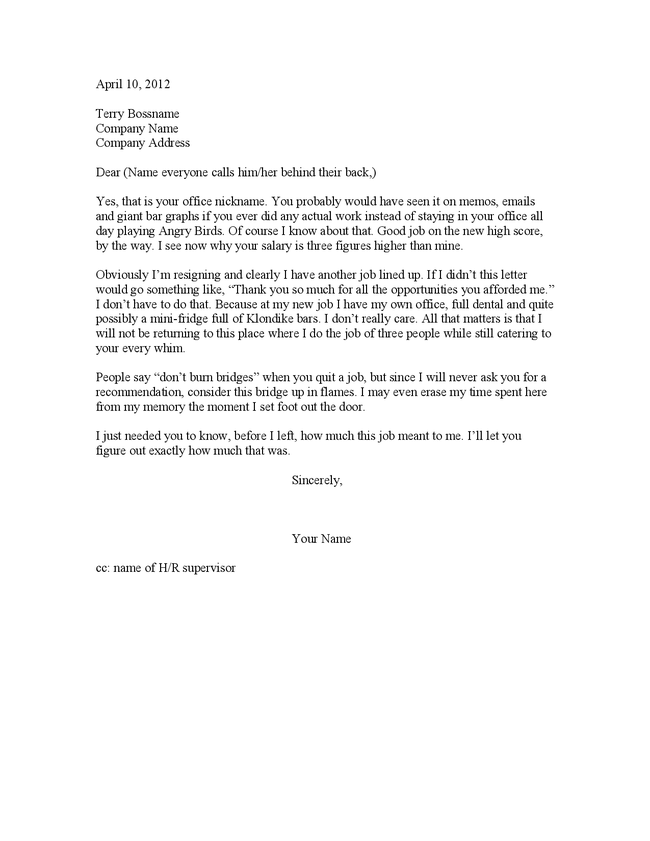 how to write a funny letter of resignation
