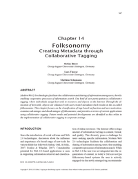 Folksonomy: Creating Metadata through Collaborative Tagging