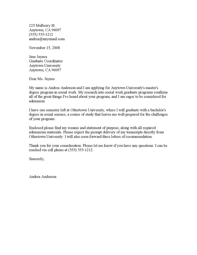 letter of application for graduate school Reference letter sample from a manager for graduate school, plus more academic recommendation letters and tips for writing references for graduate school.