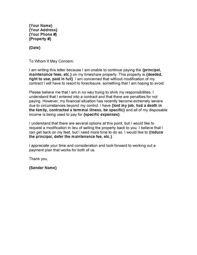 hardship letter