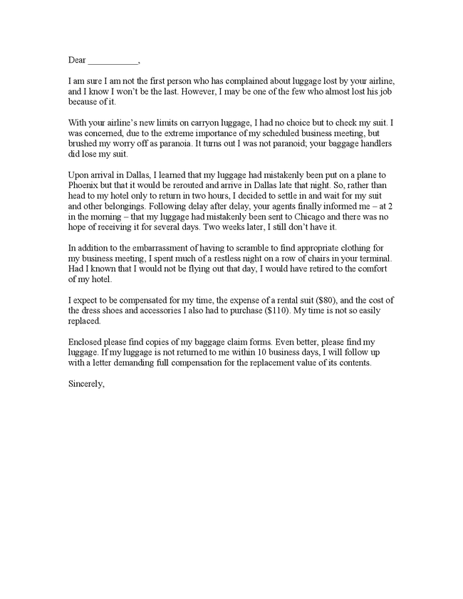 Funny Airline Complaint Letter