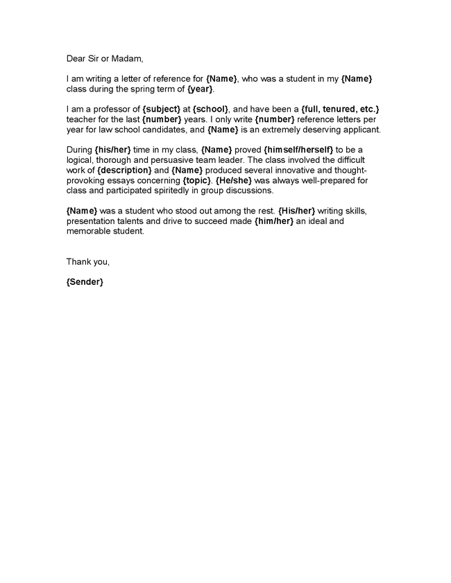 sample of character reference letter for student student