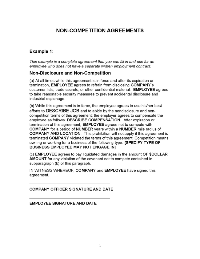 Employee Non-Compete Agreement