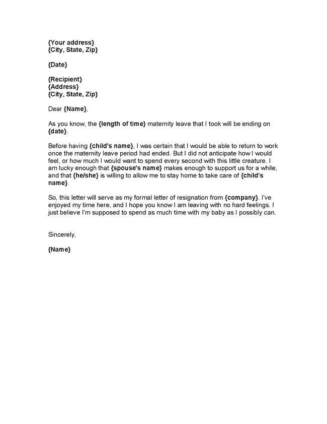 Resignation letter sample 1 month notice