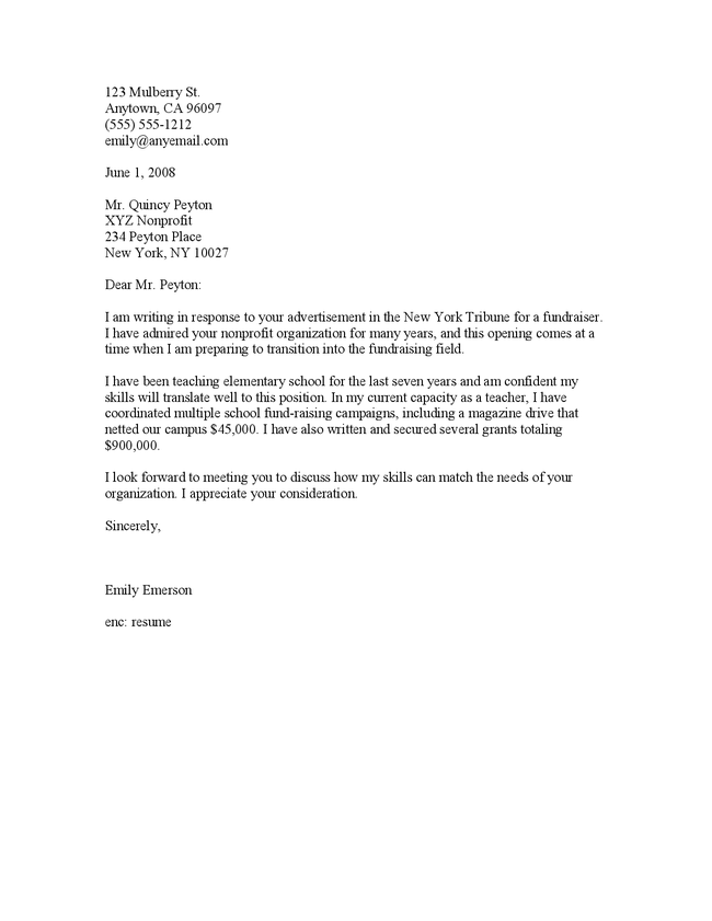 Sample Cover Letter How To Write A Cover Letter