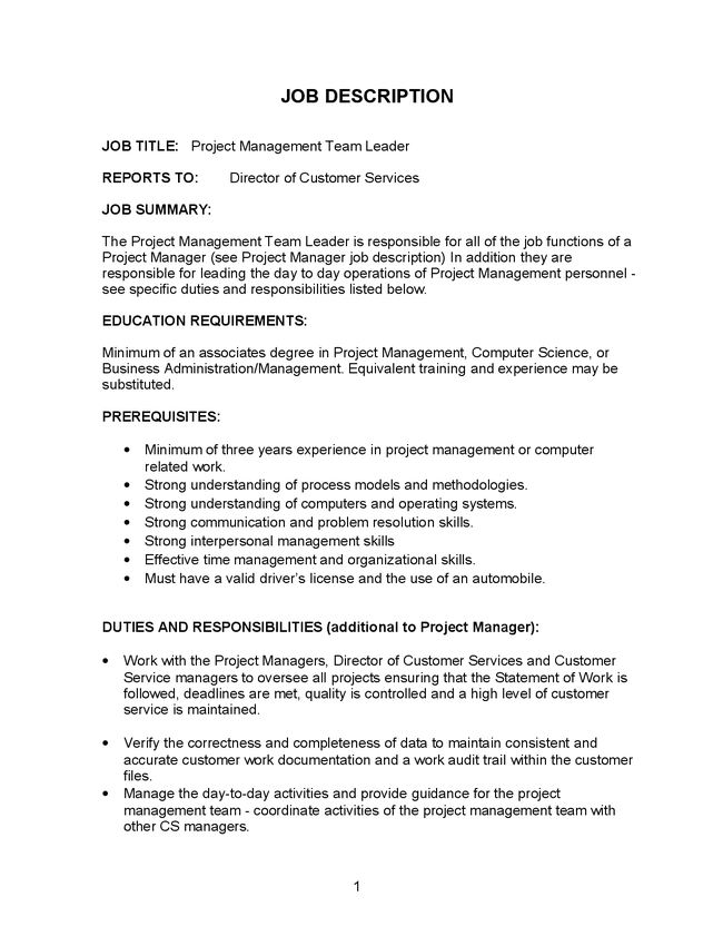 program management job description program manager - Job Description Of Business Administration