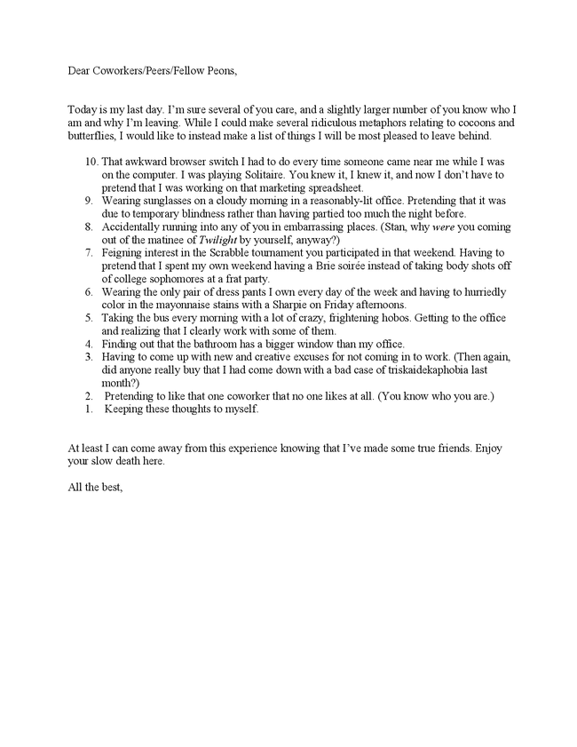 Goodbye Letter To Coworkers. Goodbye Letter To Co Worker. Funny ...