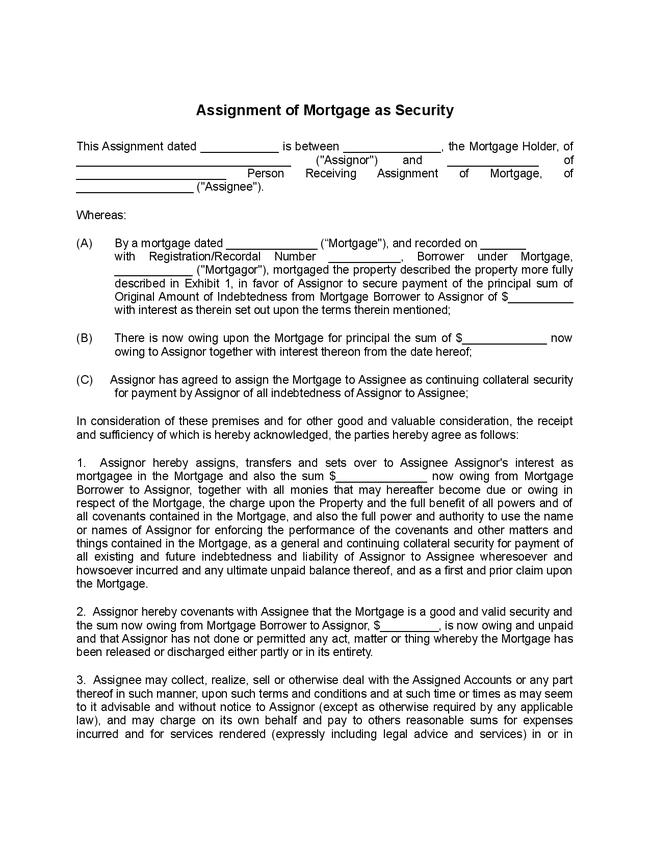 Mers assignment of mortgage