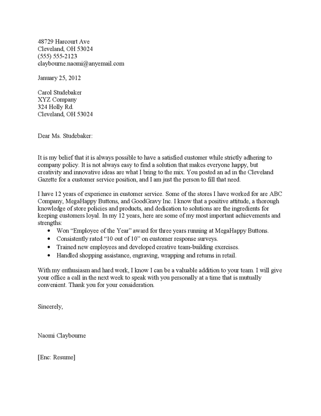 professional customer service cover letter
