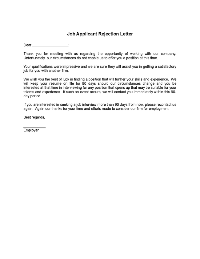 Sample Rejection Letter To Internal Candidate. Sample Rejection ...