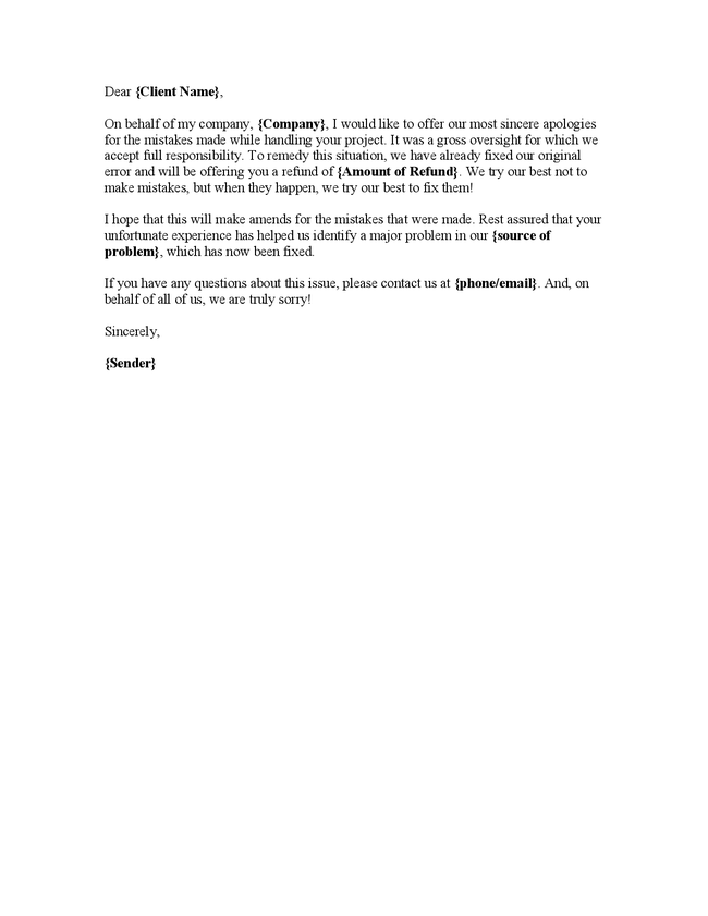 Letter Of Apology To Client F F 2017