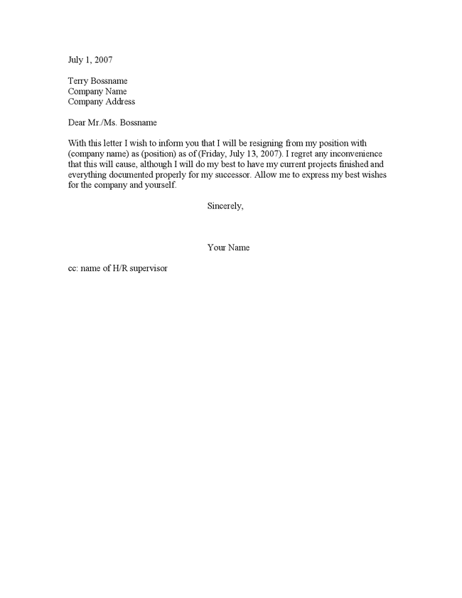 Printable Two Weeks Notice Template